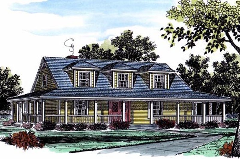 Country Exterior - Front Elevation Plan #315-107 - Houseplans.com