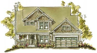 Craftsman Style House Plan - 4 Beds 2.5 Baths 2061 Sq/Ft Plan #20-694 Exterior - Front Elevation