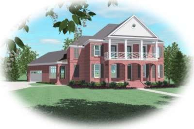 Southern Style House Plan - 5 Beds 4 Baths 4106 Sq/Ft Plan #81-1304 Exterior - Front Elevation