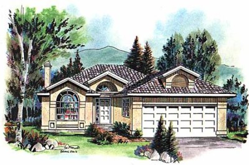 Mediterranean Exterior - Front Elevation Plan #18-143