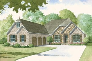 European Exterior - Front Elevation Plan #923-7