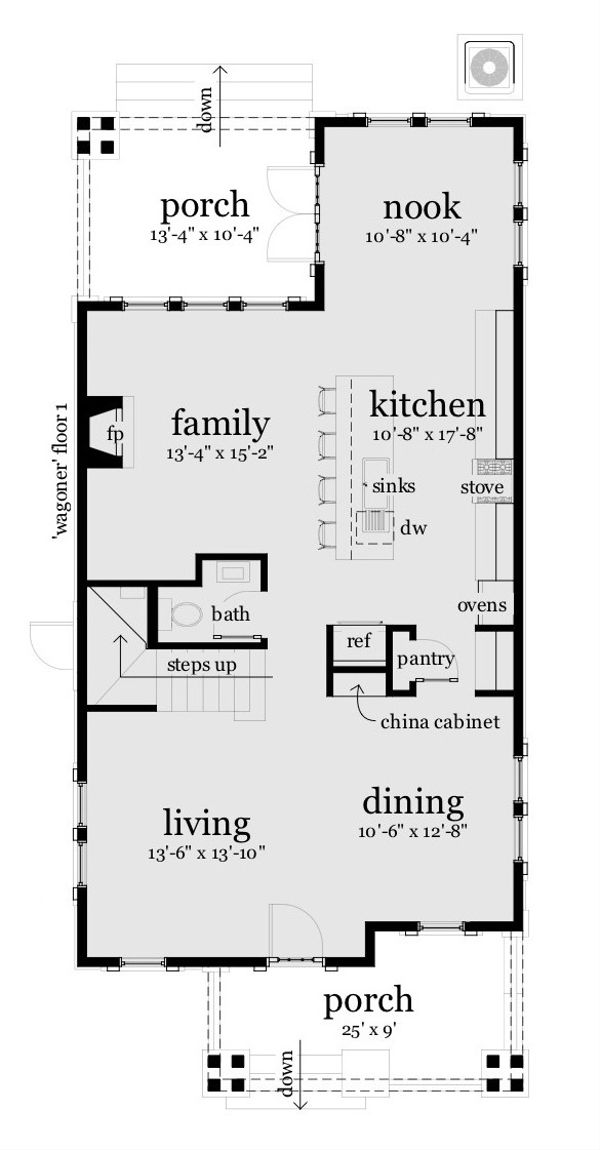 Craftsman Floor Plan - Main Floor Plan Plan #64-224