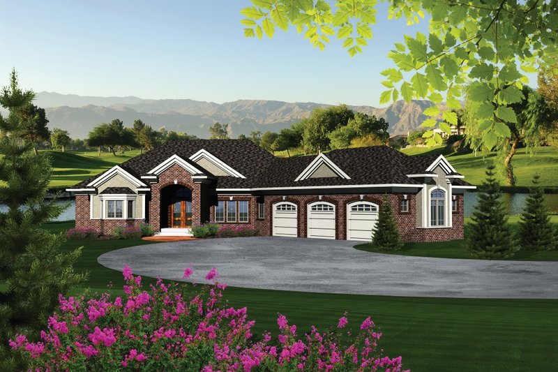 Dream House Plan - Traditional Exterior - Front Elevation Plan #70-1091