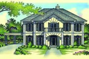 European Style House Plan - 4 Beds 3.5 Baths 3499 Sq/Ft Plan #45-213 Exterior - Front Elevation