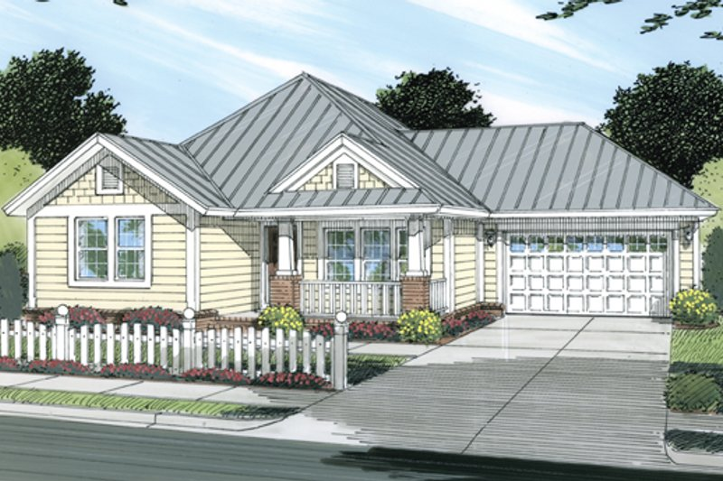Cottage Exterior - Front Elevation Plan #513-2044