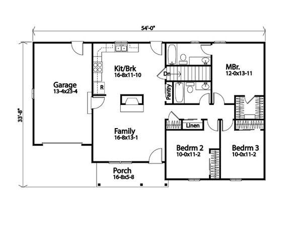 Architectural House Design - Traditional Floor Plan - Main Floor Plan #22-619