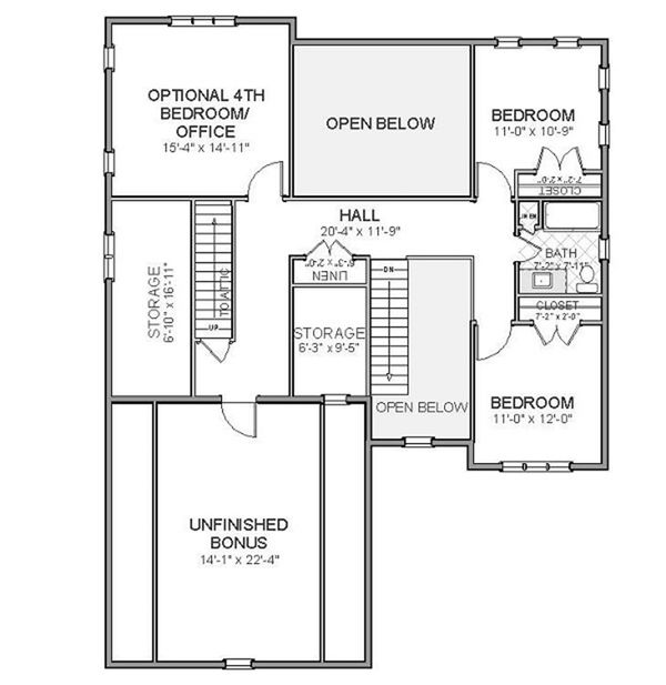 Traditional Floor Plan - Upper Floor Plan Plan #898-17