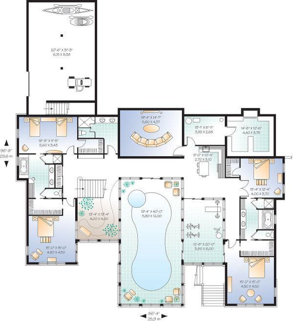 Architectural House Design - Lower Level  - 9000 square foot Beach home
