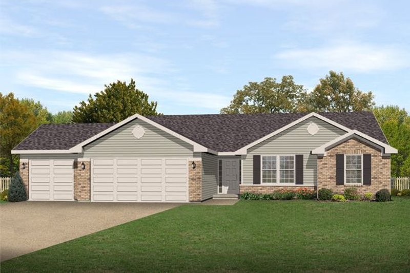 Ranch Style House Plan - 3 Beds 2 Baths 1418 Sq/Ft Plan #22-469 Exterior - Front Elevation