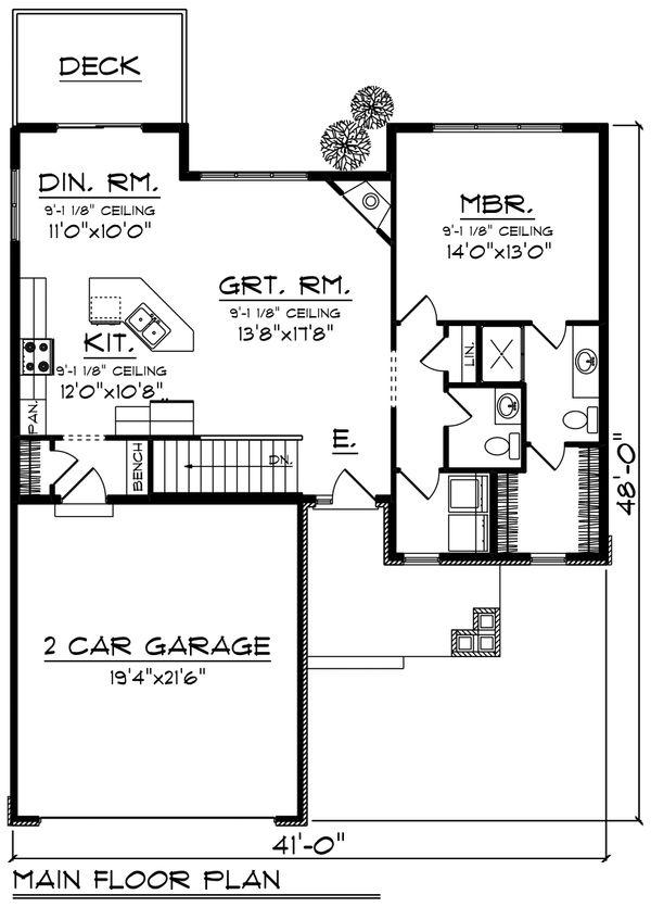 Craftsman Floor Plan - Main Floor Plan Plan #70-1213