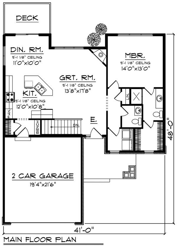 Craftsman Floor Plan - Main Floor Plan Plan #70-1213