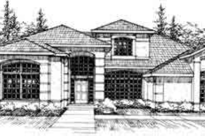 Mediterranean Exterior - Front Elevation Plan #124-210