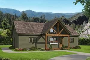 Cabin Exterior - Front Elevation Plan #932-56