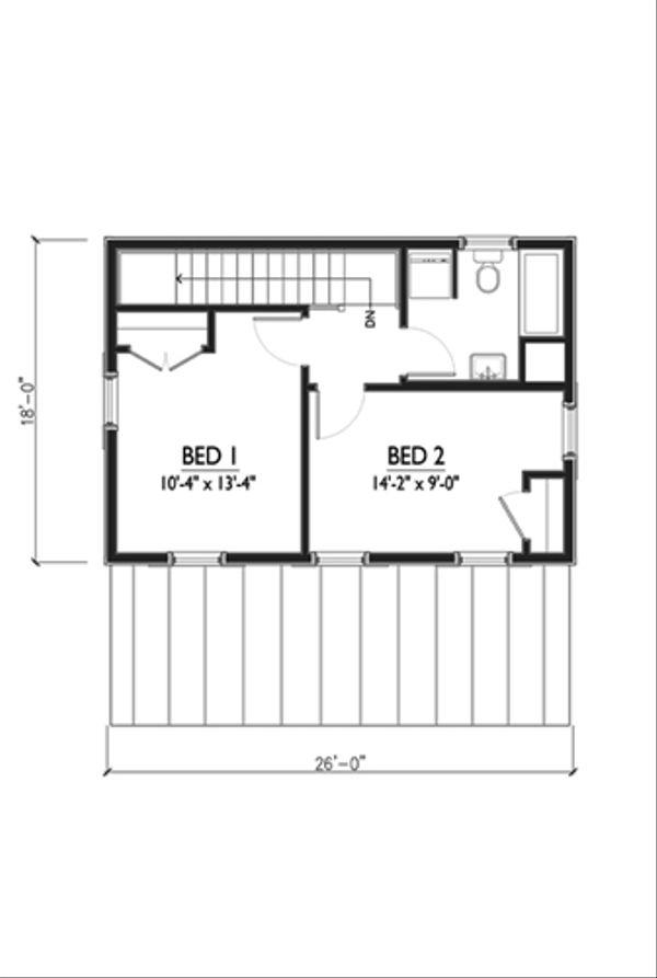 Cottage Style House Plan - 2 Beds 1 Baths 936 Sq/Ft Plan #514-13 Floor Plan - Upper Floor Plan
