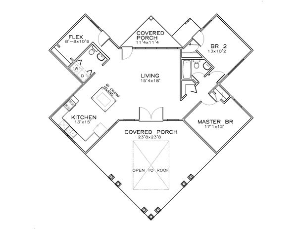 Southern Style House Plan - 3 Beds 1.5 Baths 1087 Sq/Ft Plan #8-308 Floor Plan - Main Floor Plan