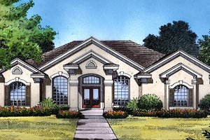 Mediterranean Exterior - Front Elevation Plan #417-198