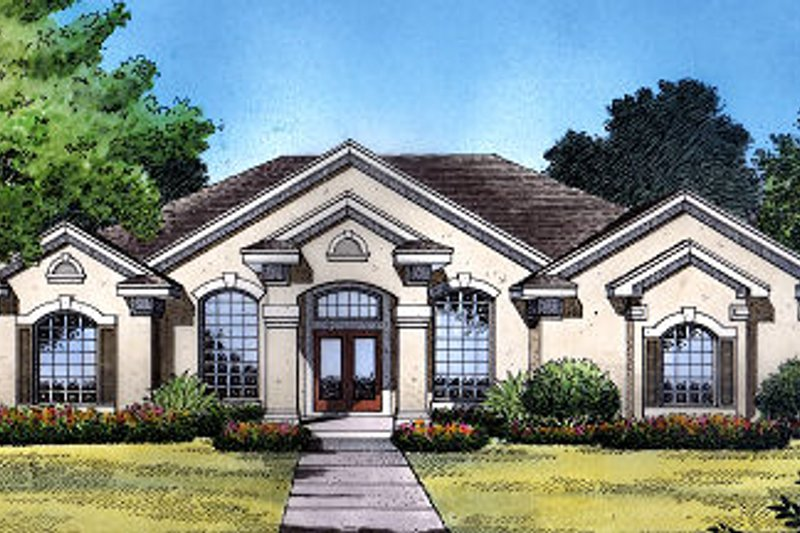 Mediterranean Style House Plan - 4 Beds 3 Baths 2140 Sq/Ft Plan #417-198 Exterior - Front Elevation