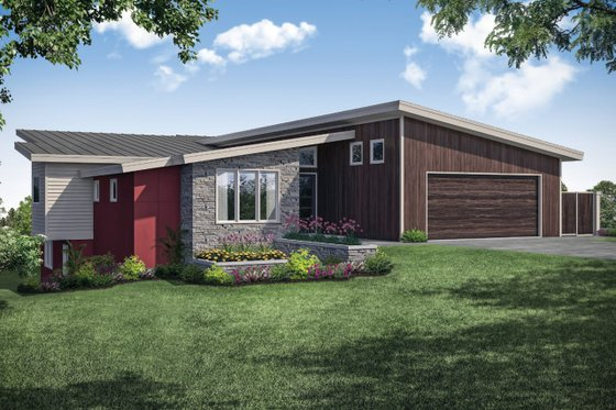 Contemporary Exterior - Front Elevation Plan #124-1111
