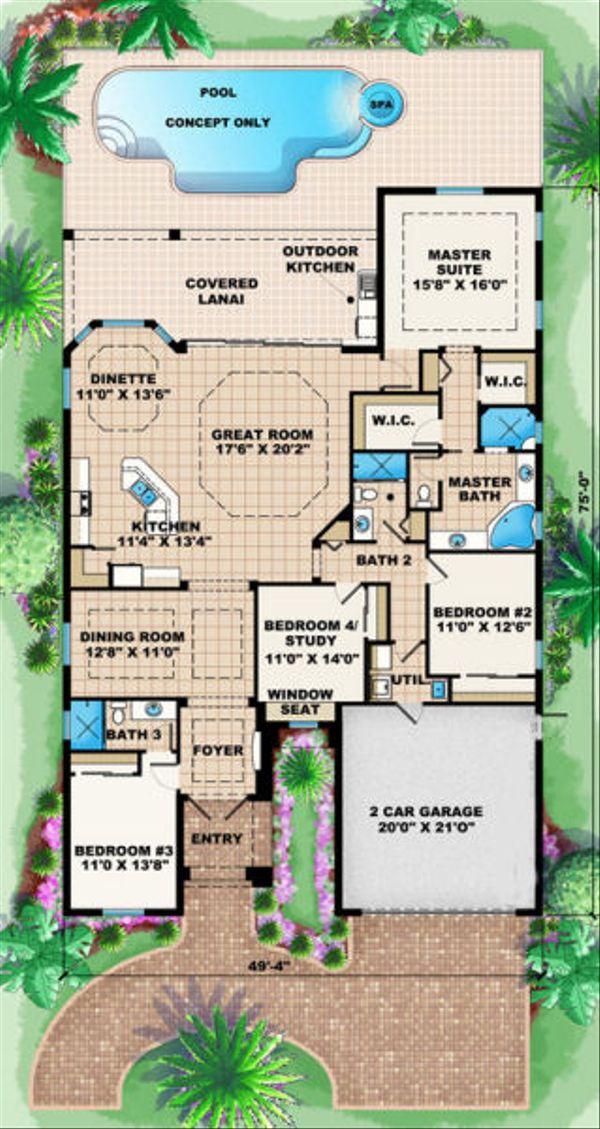 Mediterranean Floor Plan - Main Floor Plan Plan #27-402