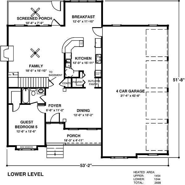 Country Floor Plan - Main Floor Plan Plan #56-544