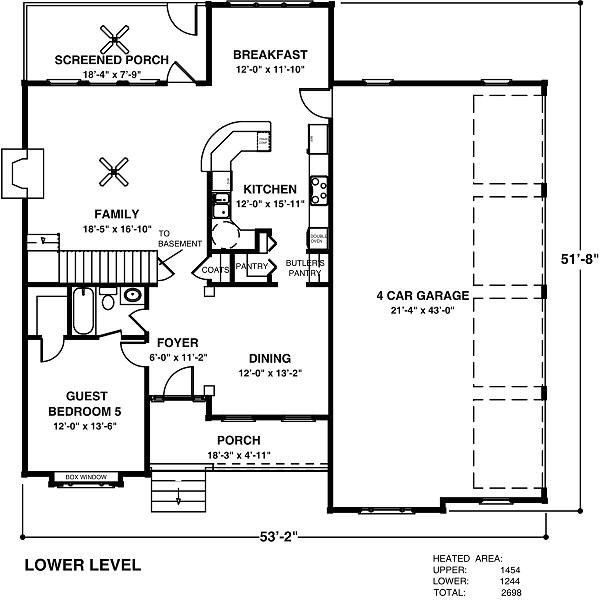Country Floor Plan - Main Floor Plan Plan #56-544