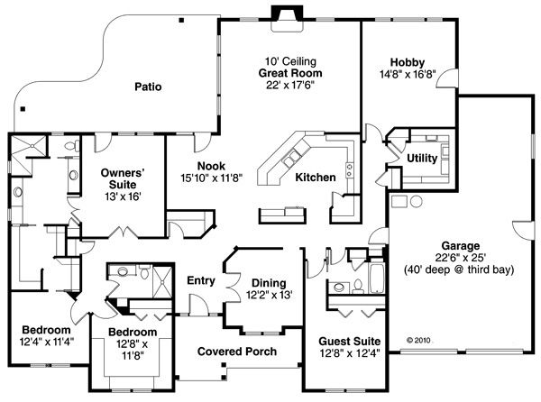 Ranch Floor Plan - Main Floor Plan #124-856