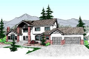 Tudor Exterior - Front Elevation Plan #60-208