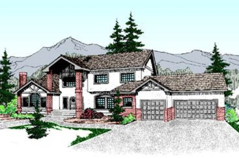Tudor Exterior - Front Elevation Plan #60-208