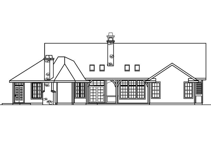 Ranch Exterior - Rear Elevation Plan #124-383 - Houseplans.com