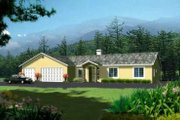 Adobe / Southwestern Style House Plan - 4 Beds 3 Baths 2102 Sq/Ft Plan #1-975 Exterior - Front Elevation