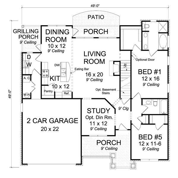 Home Plan - Traditional Floor Plan - Main Floor Plan #513-2061