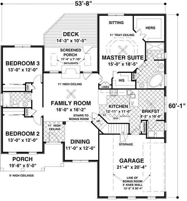 Southern Floor Plan - Main Floor Plan Plan #56-630