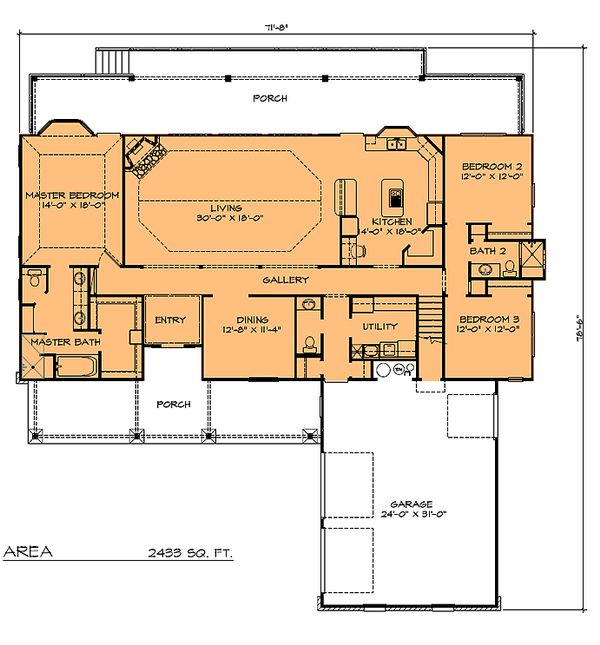 Main Floor Plan - 2433 country home