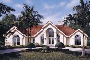 House Plan Design - Mediterranean Exterior - Front Elevation Plan #57-305