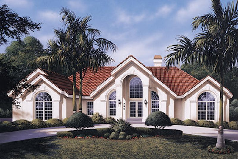 Dream House Plan - Mediterranean Exterior - Front Elevation Plan #57-305