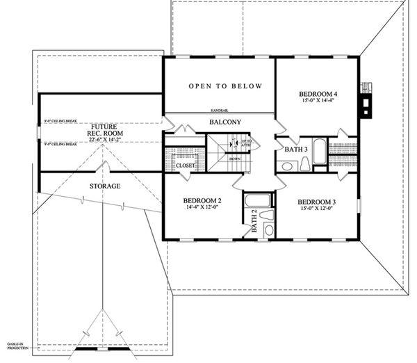 Country Floor Plan - Upper Floor Plan Plan #137-255
