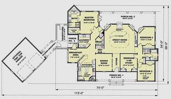 European Floor Plan - Main Floor Plan Plan #44-124
