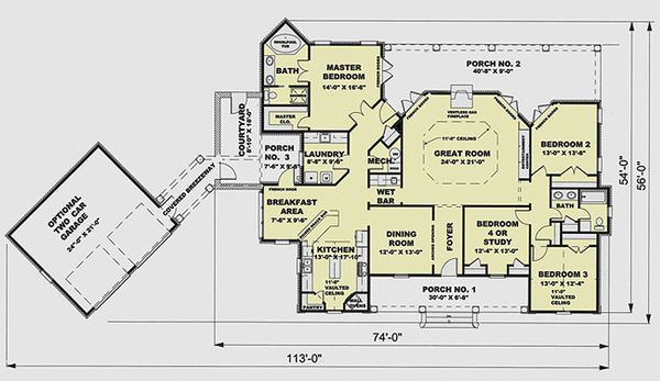 European Floor Plan - Main Floor Plan Plan #44-124