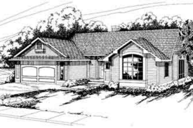 Ranch Exterior - Front Elevation Plan #124-130 - Houseplans.com