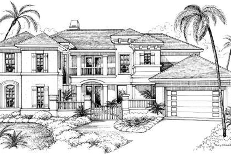 Mediterranean Exterior - Front Elevation Plan #61-265
