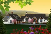 Ranch Style House Plan - 2 Beds 3 Baths 2196 Sq/Ft Plan #70-1137 Exterior - Front Elevation