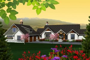 Ranch Exterior - Front Elevation Plan #70-1137