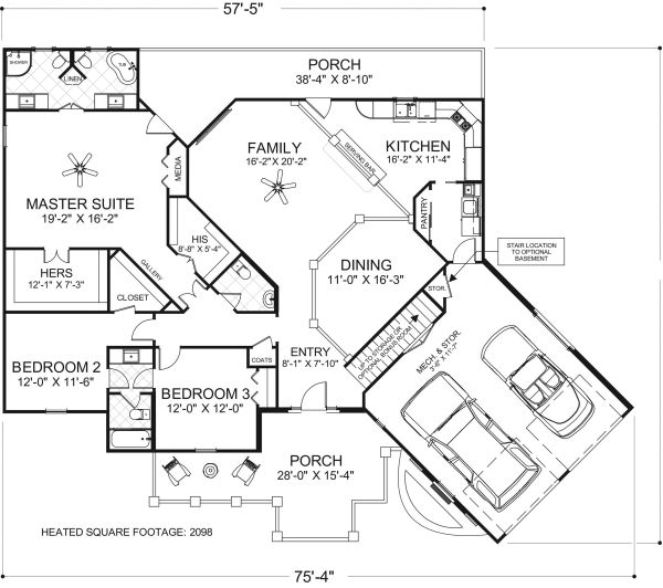 Craftsman Floor Plan - Main Floor Plan Plan #56-718