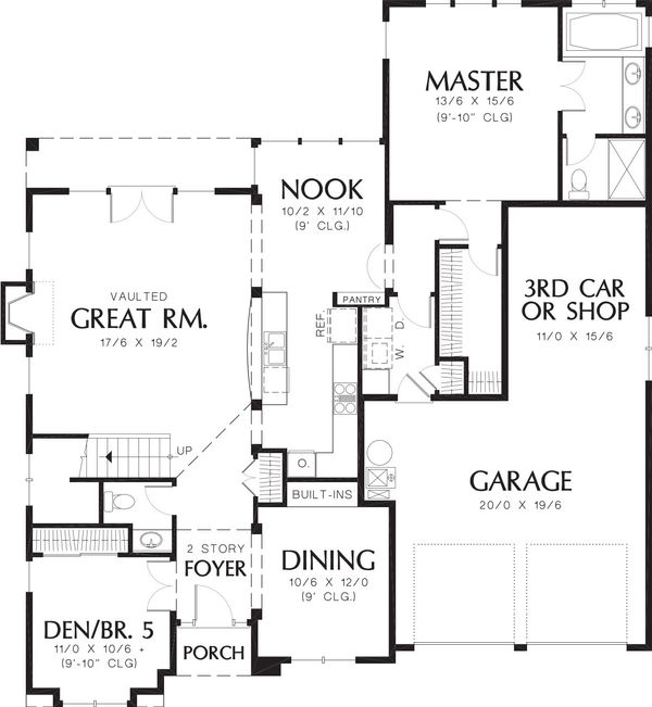 Craftsman Floor Plan - Main Floor Plan Plan #48-383