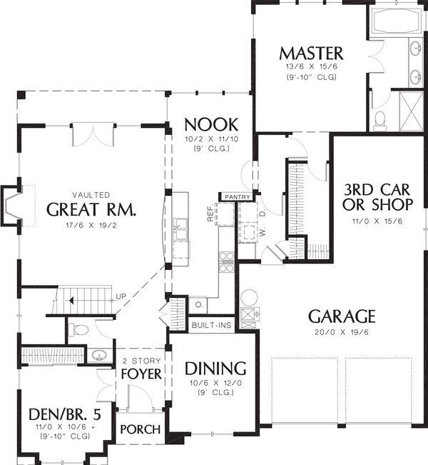 Craftsman Floor Plan - Main Floor Plan Plan #48-383