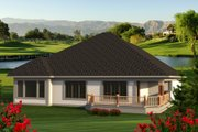 Ranch Style House Plan - 2 Beds 2 Baths 1469 Sq/Ft Plan #70-1188 Exterior - Rear Elevation