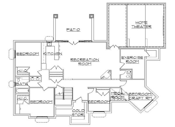 Traditional Floor Plan - Lower Floor Plan Plan #5-257