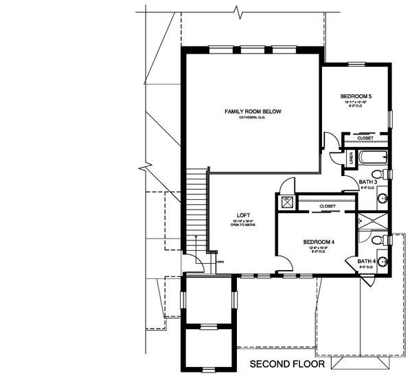 Modern Floor Plan - Upper Floor Plan Plan #1058-175