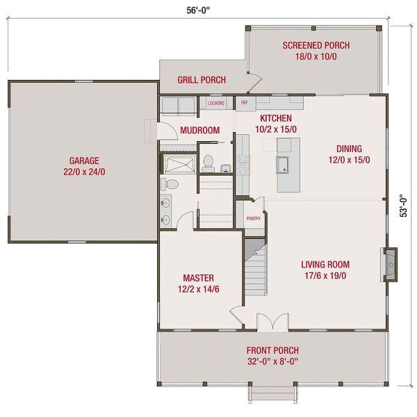 Farmhouse Floor Plan - Main Floor Plan Plan #461-72