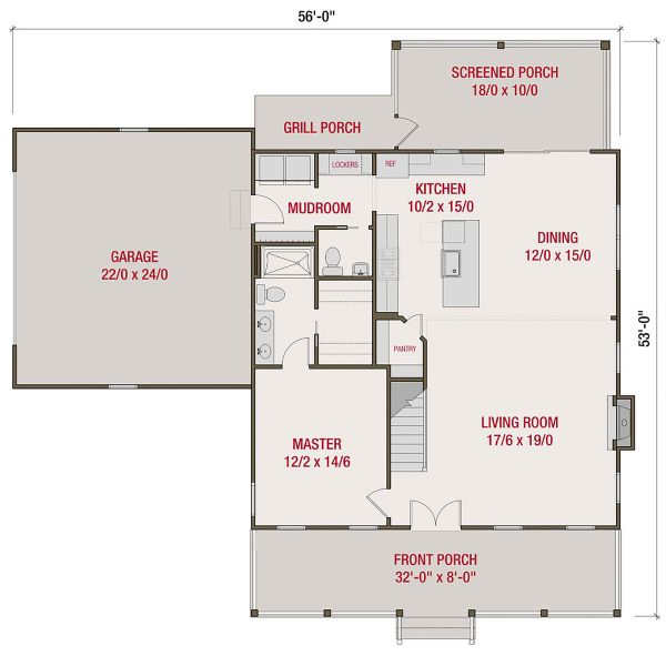 Architectural House Design - Farmhouse Floor Plan - Main Floor Plan #461-72